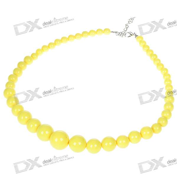 Stylish Resin Pearl Necklace - Yellow (5-Pack) цена и фото