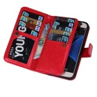 2-in-1 9 Cards Slots Leather Case for Samsung Galaxy S7 - Red