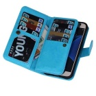2-in-1 9 Cards Slots Leather Case for Samsung Galaxy S7 - Light Blue