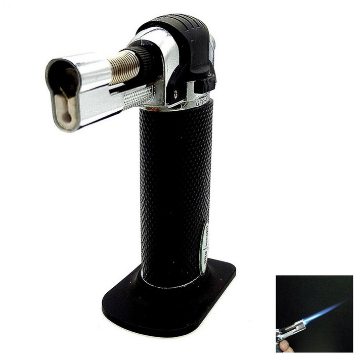 SHENYASHI SYS0133 Butane Gas Blue Flame Jet Lighter - Black + Silver