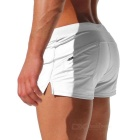 Fashion Back Zipper Pocket Design Beach Swimming Trunks - Vit (M)