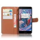 PU Leather Wallet Cases w/ Stand / Card Slots for Oneplus 3 - Brown