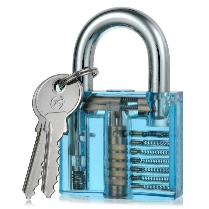 Inside-View Pick Skill Training Practice Padlock - Light BlueLocksmith Supplies<br>ModelN/AQuantity1 DX.PCM.Model.AttributeModel.UnitForm  ColorTransparent Light BlueMaterialABS + Stainless SteelPacking List1 * Transparet Padlock2 * Keys<br>