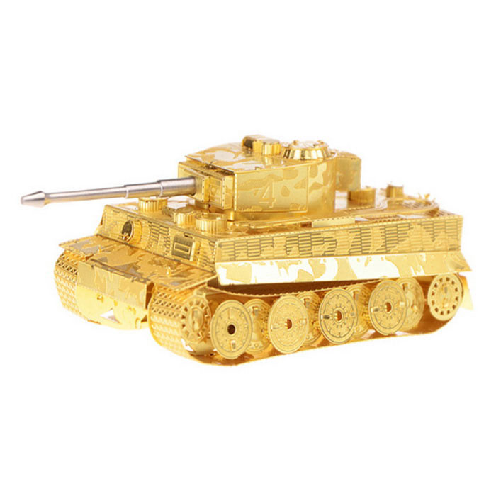 3D tridimensional DIY Assembléia Modelo Tiger Tank - Ouro