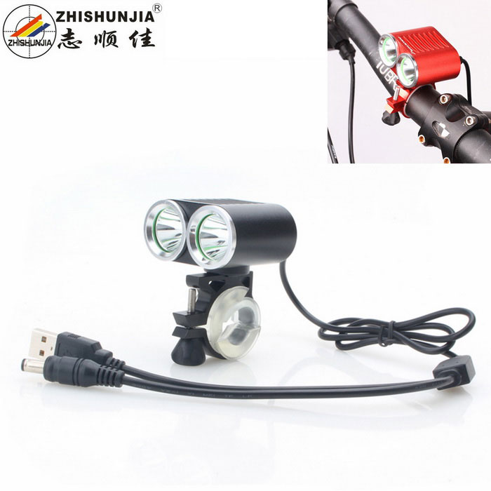 ZHISHUNJIA XML-T6 2-LED 900lm 4-Mode Cold White Bike Lamp - Black