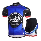 NUCKILY Men's Summer Short Sleeve Jersey + Short Pants Suit -Blue(XXL)