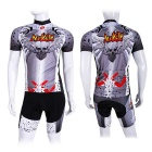 NUCKILY Men's Summer Cycling Jersey + Shorts Suit - Grey (S)