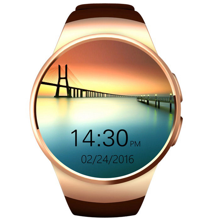 KW18 Full Circular Screen Heart Rate Smart Watch for Phone - GoldenSmart Watches<br>Form  ColorGoldenModelKW18Quantity1 DX.PCM.Model.AttributeModel.UnitMaterialZinc Alloy+TPUShade Of ColorGoldCPU ProcessorMTK2502C-ARM7Bluetooth VersionBluetooth V2.1,Bluetooth V4.0Touch Screen TypeYesCompatible OSAndroid &amp; IOS OSWater-proofNoBattery Capacity340 DX.PCM.Model.AttributeModel.UnitBattery TypeLi-ion batteryStandby Time120 DX.PCM.Model.AttributeModel.UnitOther FeaturesMemory: 128Mbit+64Mbit; support 16GB TF max.<br>Frequency: GSM850/900/1800/1900 quad-bandsScreen Size1.3 DX.PCM.Model.AttributeModel.UnitScreen Resolution240 * 240LanguageNot SpecifyWristband Length23 DX.PCM.Model.AttributeModel.UnitBattery ModeNon-removablePacking List1 x Smart Watch1 x USB Cable(125CM)1 x English Manual<br>