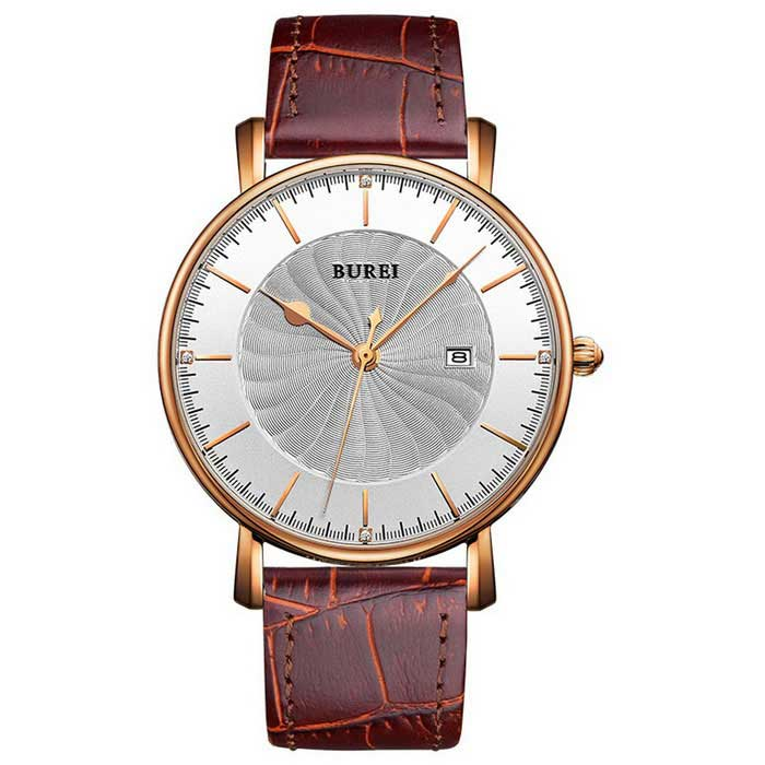 BUREI Men's Simple Windmill Style Dial Leather Strap Watch - Coffee