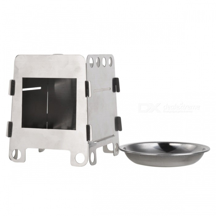 Mini Portable Folding Stainless Steel Alcohol Stove - Silvery Grey