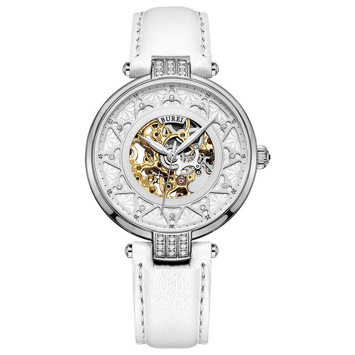 BUREI Hollow Automatic Mechanical Movement Watch - White