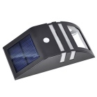 Jiawen 50lm 6500K Solar Powered Wall Body Induction Lamp - Black