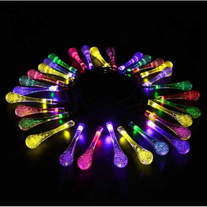 P-TOP LED Solar Water Droplets Style Light String Outdoor Lawn Lights (4.8m)
