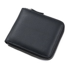 Men's Multi-functional First Layer of Cowhide Zipper Wallet - Black