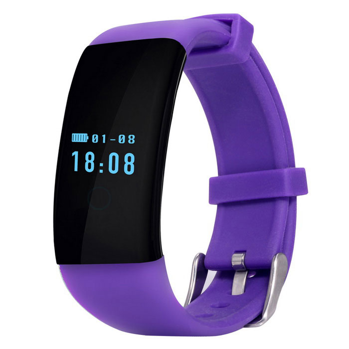 Waterproof Heart Rate Monitoring Smart Bracelet - Purple + Black
