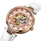 BUREI Hollow Automatic Mechanical Movement Watch - Rose Gold + White