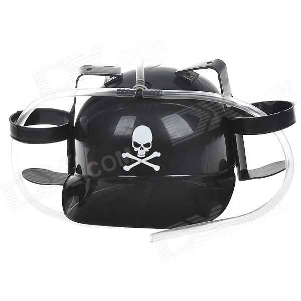 Beer Helmet Drinking Hat with Skull Figure - Black