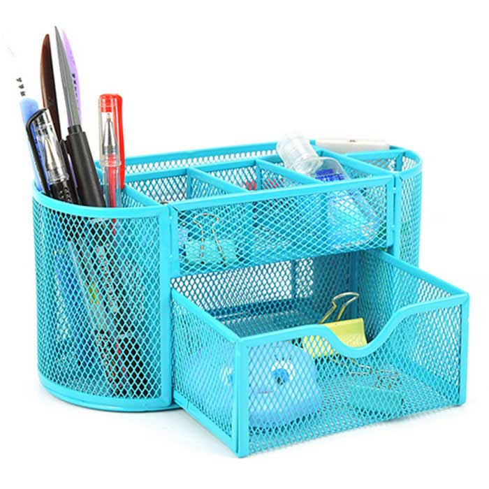Wrought Iron 9-Case Desktop Stationery Box / Big Drawer - Blue