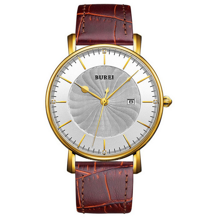 BUREI Men's Windmill Style Dial Leather Strap Watch - Coffee + Gold
