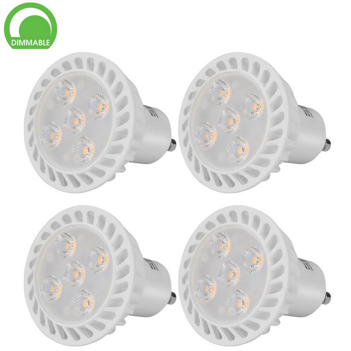GU10 5W 5-SMD 2835 LED Warm White Dimmable Spotlight Lamps - White