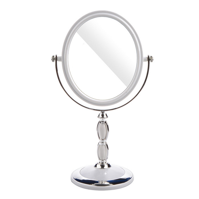 Oval Shaped Stone Pattern Double-Sided Mirror - White + Silver
