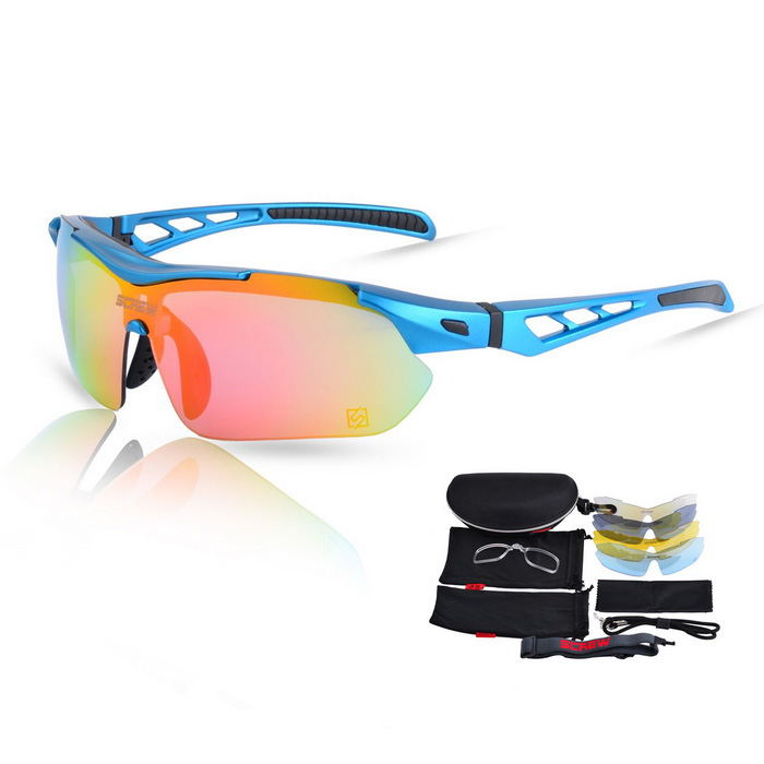 SCREW 9005C3 Outdoor Sports Sonnenbrille - Blau + Rot