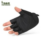 FREE SOLDIER Anti-slip PU Half-finger Gloves - Black (Pair/Size XL)