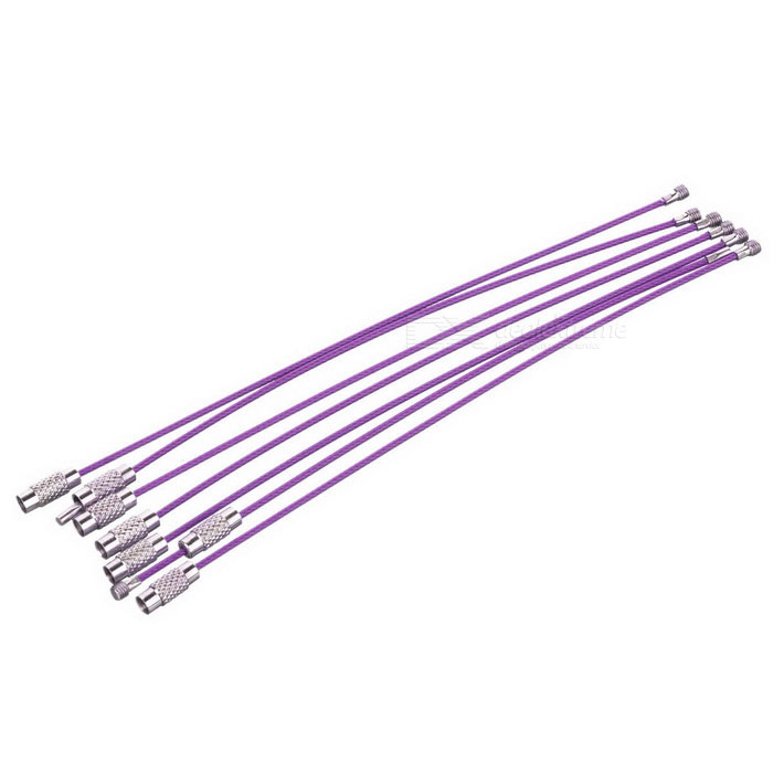 Steel Wire Circle Keychain Set - Purple (6PCS)