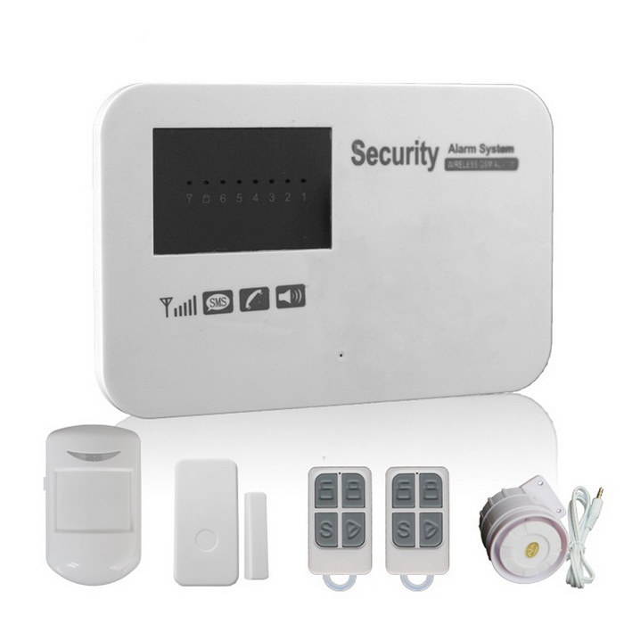 GSM Wireless Smart Alarm Systems w/ Learning Code - White (US Plug)