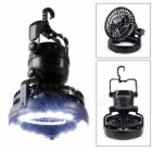 2-in-1 Outdoor Cold White Light Camping Lantern + Fan - Black