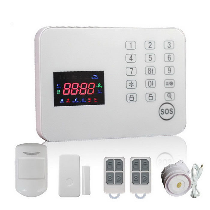 Touch Keypad Color Screen GSM Alarm System - White (UK Plug)Alarm Systems<br>Form  ColorWhitePower AdapterUK PlugModelWL-JT-120CGMaterialABSQuantity1 DX.PCM.Model.AttributeModel.UnitScreen Size5.7*3.5 DX.PCM.Model.AttributeModel.UnitRemote Control Range150 DX.PCM.Model.AttributeModel.UnitVoice Decibels110Power AdaptorYesPower SupplyAAAWorking Temperature-10~40 DX.PCM.Model.AttributeModel.UnitWorking Humidity80%Working Frequency433Power SupplyAAA,AC 220VBattery included or notYesBattery Number6*AAARated Current2 DX.PCM.Model.AttributeModel.UnitRate VoltageDC 9~12VCertificationCEOther Featuresalarm panel support Android &amp; IOS APP operationPacking List1 * Host1 * Wireless IR detector2 * Remote controls1 * Wireless door sensor1 * Power charger (100~240V / UK plug / 140cm-cable)1 * Siren1 * English user manual<br>