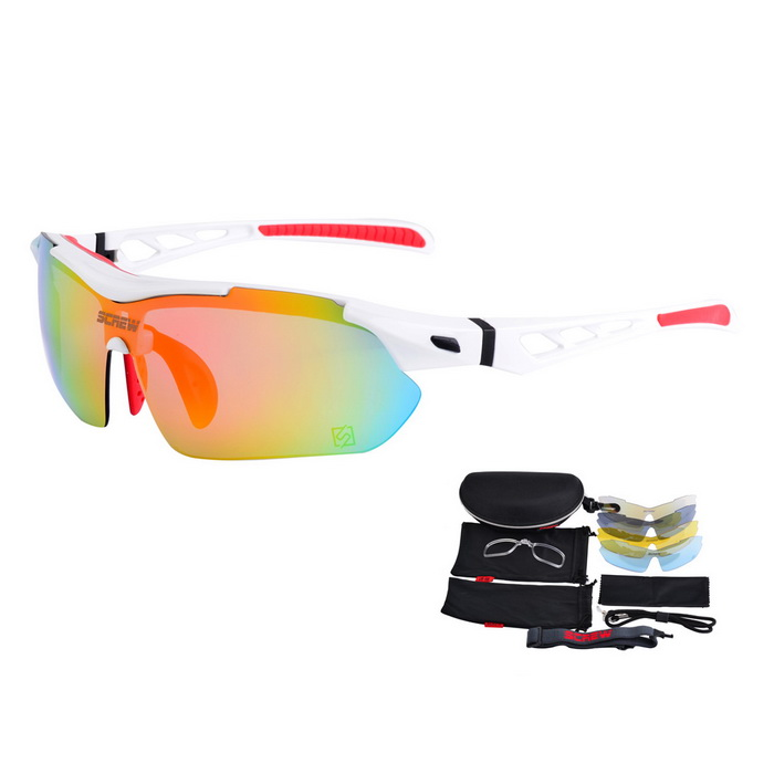 SCREW 9005C4 Outdoor Sports 5-Lens Sunglasses - White + Red