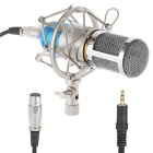 3.5mm Plug Voice Recording Microphone w/ Wind Screen Accessories Set - Silver + Blue