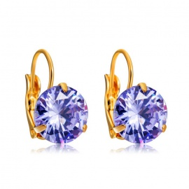 Xinguang Women's Elegant Round Hoop Earrings - Gold + Purple (Pair)