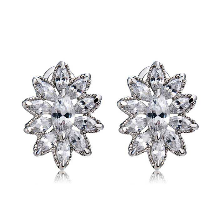 Xinguang Woman's Elegant Fashion Crystal Earrings - Silver