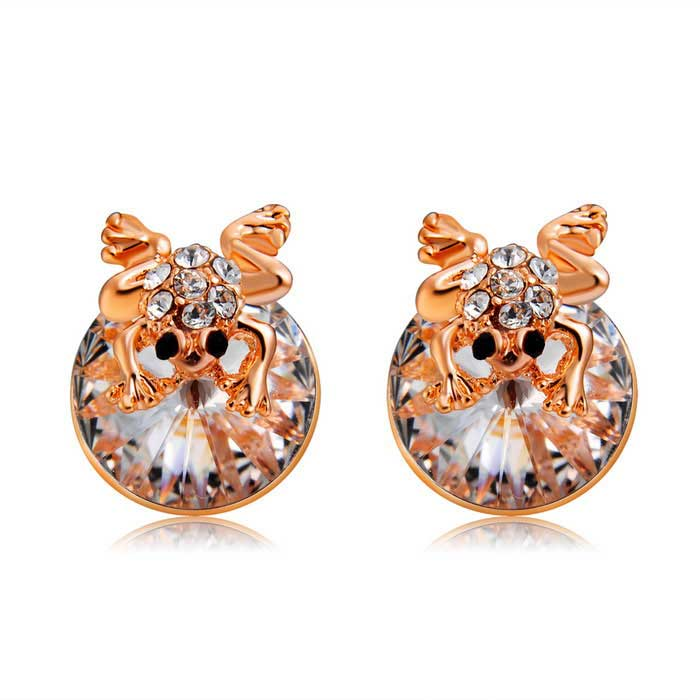 Xinguang Woman's Fashion Cute Little Frog Style Earrings - Rose Gold