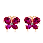 Xinguang Woman's Butterfly Style Earrings - Rose Gold + Dark Pink