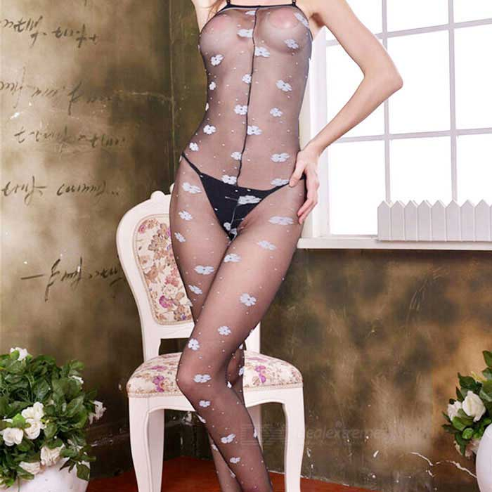 Nylon + Spandex Sexy Body Stockings Lingerie - Black + White