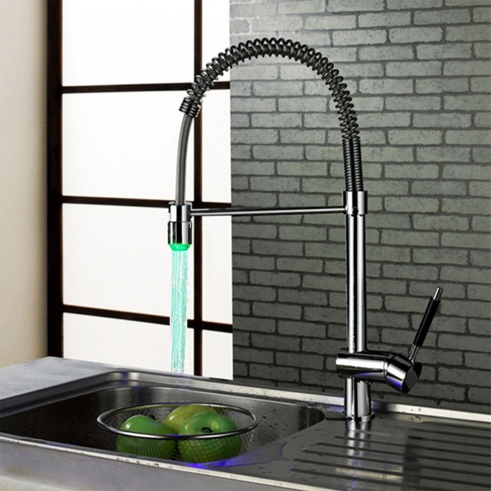 LSK05 Contemporary Brass Personalized Single Handle LED Kitchen Faucet