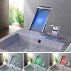 Contemporary Brass Single Handle Two Holes LED Bathroom Sink Faucet