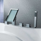 Contemporary Chrome Brass Three Handles Five Holes LED Bathtub Faucet
