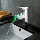Contemporary Chrome Brass Single Handle One Hole LED Bathroom Faucet