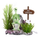 Saim Skeleton Squatting Toilet Style Aquarium Decoration - White