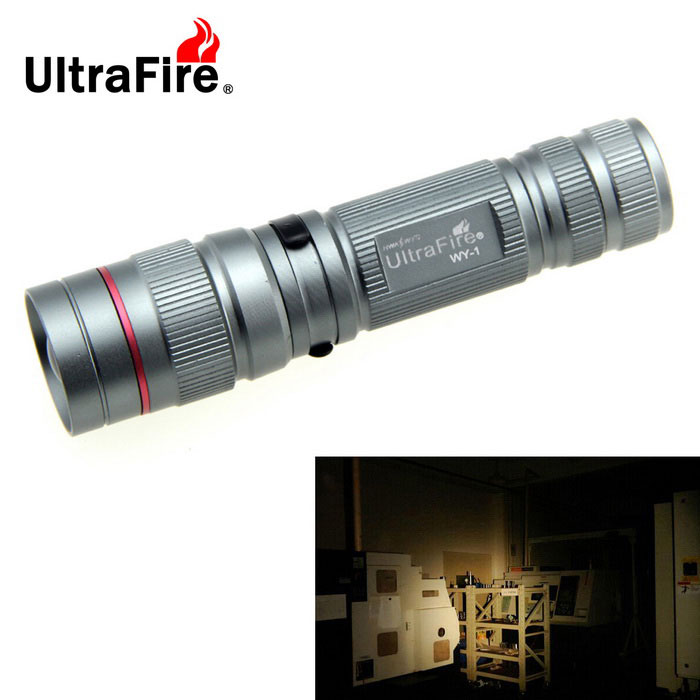 Ultrafire XRE R2 289lm Portable Flashlight - Silvery Grey (1*14500)14500 Flashlights<br>Form  ColorSilver GreyModelWY-1Quantity1 DX.PCM.Model.AttributeModel.UnitMaterialAluminum AlloyOther FeaturesWaterproof,Zoom-to-throwBrandUltrafireLED TypeXR-EEmitter BINR2Color BINCold WhiteNumber of Emitters1Working Voltage   3.7 DX.PCM.Model.AttributeModel.UnitPower Supply1*14500Current1100 DX.PCM.Model.AttributeModel.UnitTheoretical Lumens289 DX.PCM.Model.AttributeModel.UnitActual Lumens289 DX.PCM.Model.AttributeModel.UnitRuntime2-3 DX.PCM.Model.AttributeModel.UnitNumber of Modes3Mode ArrangementHi,Low,Fast StrobeMode MemoryNoSwitch TypeReverse clickySwitch LocationTailcapLensPlasticReflectorNoBeam Range217 DX.PCM.Model.AttributeModel.UnitStrap/ClipClip includedOutput(lumens)1-200Runtime(hours)3.1-4Packing List1 * Flashlight1 * U-standard packaging<br>