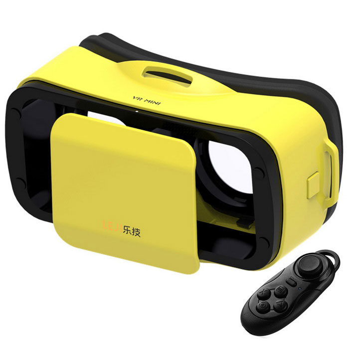 LEJI Mini VR 3D Google Glasses + Remote Control - Yellow