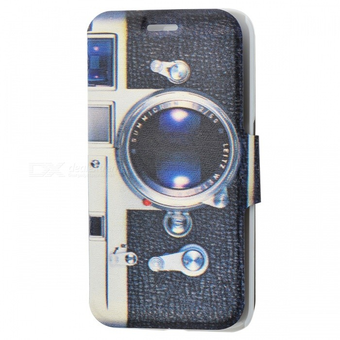 SZKINSTON Camera Pattern PU Leather Case for Samsung Galaxy S6 Edge