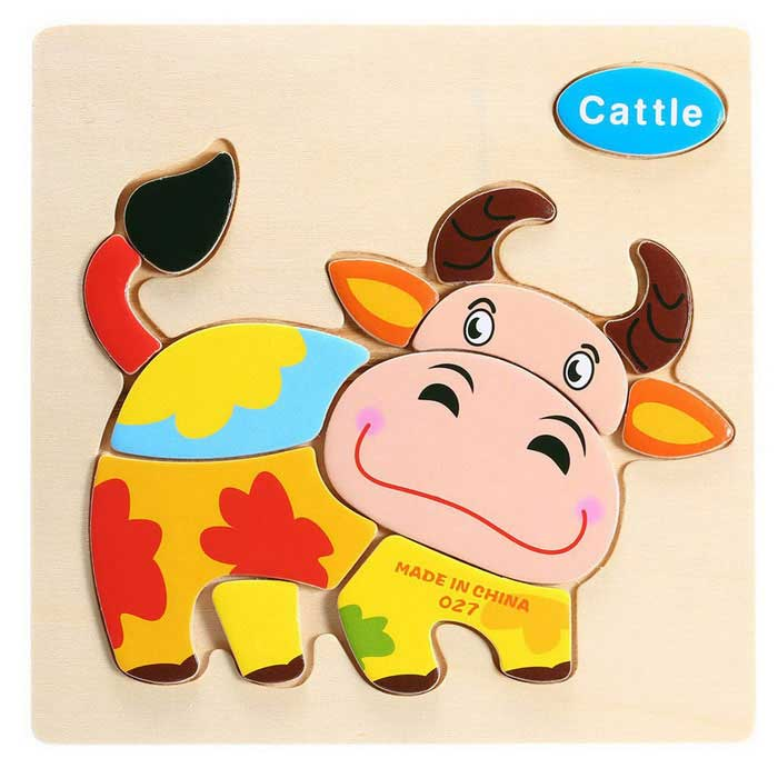 Cattle Shaped Puzzle Wooden Blocks Cartoon Toy - Yellow
