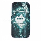 SZKINSTON Smoking Monkey Pattern PU Leather Case for Samsung Galaxy S6