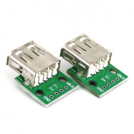 Type A Female USB to 2.54mm DIP Adapter Modules for Breadboard (2PCS)