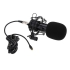 Radio Studio Recording Shockproof Condenser Microphone - Black + Gold